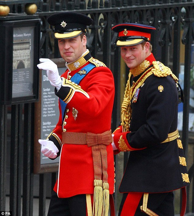 Princes William and Harry 26 years after, at Westminster Abbey before William's marriage to Kate Middleton in April 2011