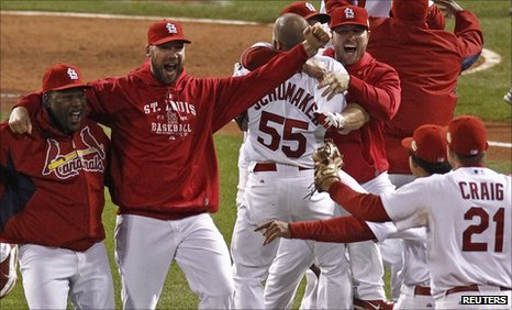 St Louis Cardinals beat Texas Rangers 6 2 in the decisive seventh game and won baseballs World Series 2011 photo
