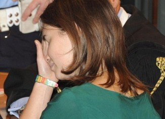 Tearful Amanda Knox in the court room in Perugia, Italy, this morning on the final day of her appeal