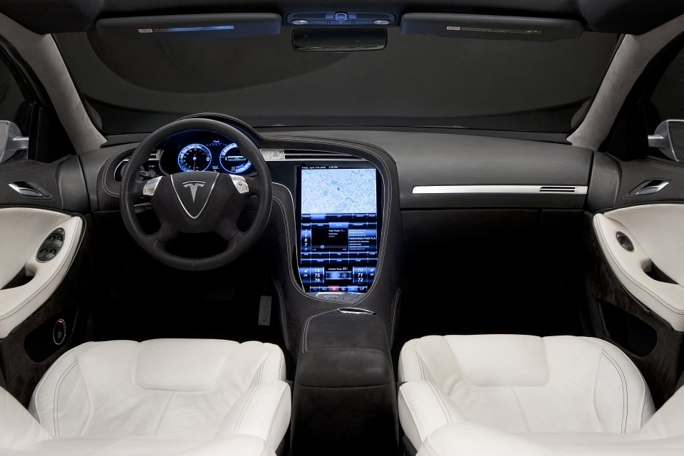 The large touchscreen of Tesla Model S hosts most of the infotainment controls.