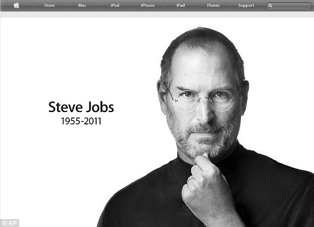 The Apple Home page has revealed that Steve Jobs had died