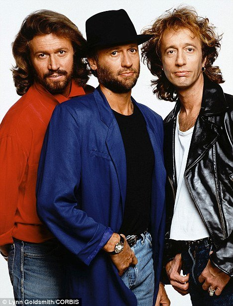 The Bee Gees band: Robin Gibb (right) and his brothers, Barry (left) and Maurice