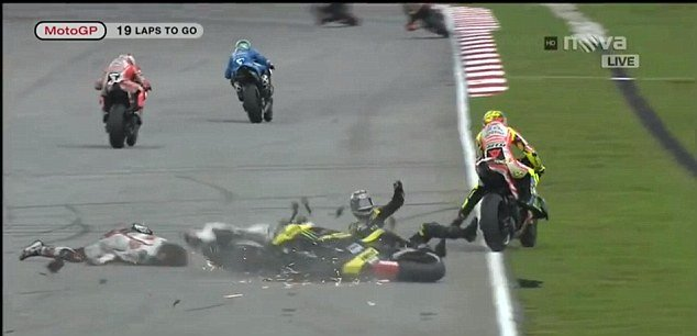 The Gresini Honda rider, Marco Simoncelli lost control of his bike on the second lap of the circuit in Sepang and appeared to be hit by Colin Edwards and then Valentino Rossi as he slid across the track