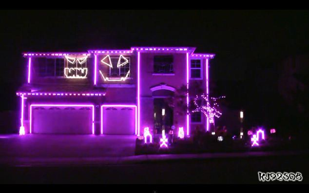 The Halloween house owners use tombstones, hand carved pumpkins, strobes, floods and thousands of lights to create an incredible light show set to the tunes of the LMFAO hit pop song Party Rock Anthem