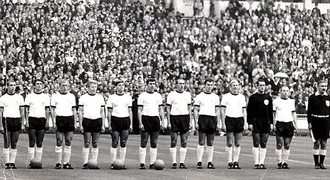 The West German team lines up before World Cup 1966 final