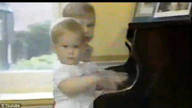 William and Harry were captured on film playing the piano, as they took part in a photo-shoot at Kensington Palace in 1985