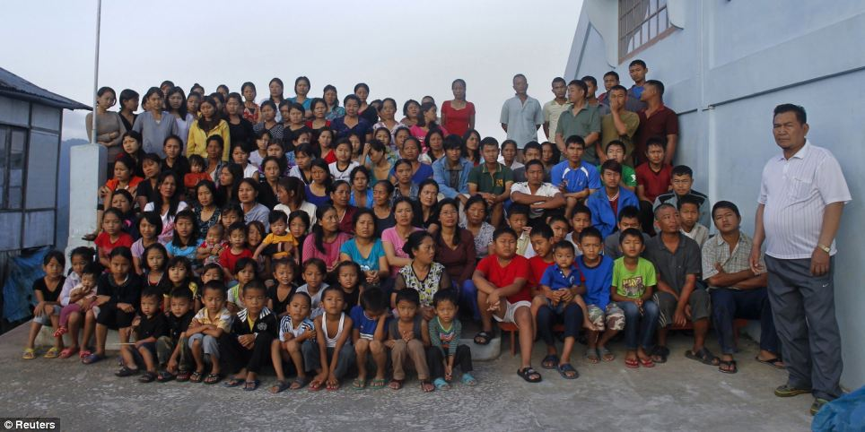Ziona Chana, a man from India, has the largest family in the world, 39 wives, 94 children, 14 daughters-in-law and 33 grandchildren