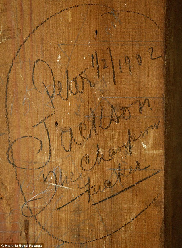 A filthy message dated 1902 and scrawled on a wooden pillar beside the front door has been uncovered during a £12 million ($18 million) restoration of Kensington Palace