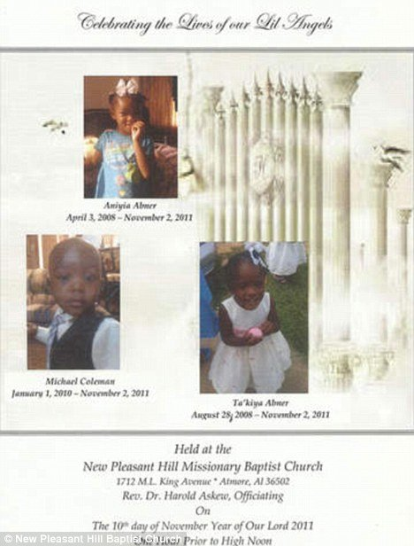 A funeral service for the three toddlers will be held Thursday, November 10, at New Pleasant Hill Missionary Baptist Church