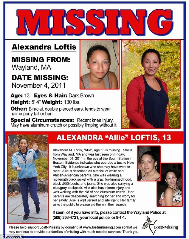 Allie Loftis family had searched long and hard for their daughter never giving up hope with their efforts rippling throughout the New York area to local police stations city streets and across social media sites showing a number  photo