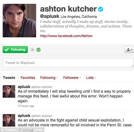Ashton Kutcher stepped into the middle of a media storm following an ill advised late night tweet photo