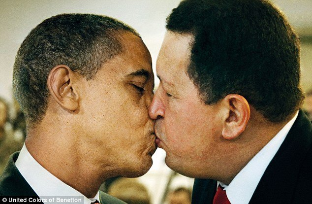 Benetton campaign includes a picture of U.S. President Barack Obama kissing Venezuelan President Hugo Chavez