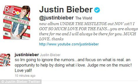 Justin Bieber 17 tweeted today that he was choosing to ignore the rumours and rather concentrate on his music photo