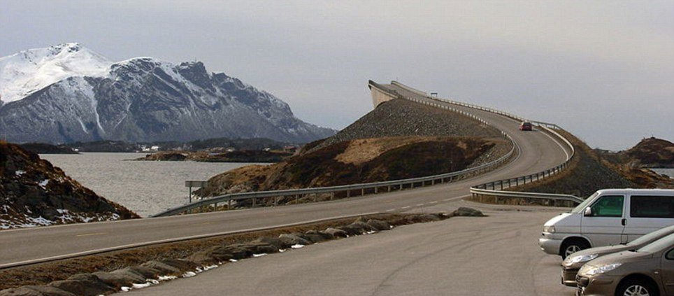 Norway, the Storseisundet Bridge on the Atlantic Road is an apparent road to nowhere