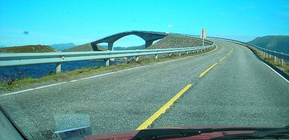 The Storseisundet Bridge sits on the 8 km (5 miles) long Atlantic Road which has become hugely popular with tourists
