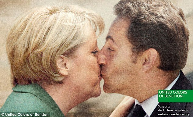 The latest Benetton campaign includes a image of Germany's chancellor Angela Merkel kissing French president Nicolas Sarkozy