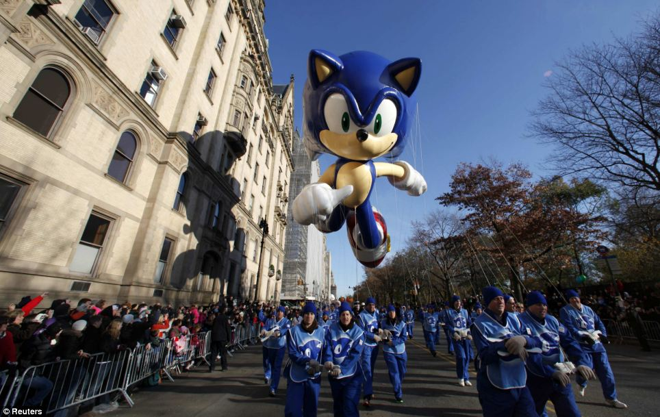 With a 40-ft Sonic the Hedgehog at its helm, the 85th annual Macy's Thanksgiving Day Parade kicked off in spectacular style