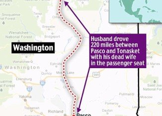 A 71-year-old Canadian motorist drove for 220 miles with the body of his dead wife beside him in the passenger seat across US