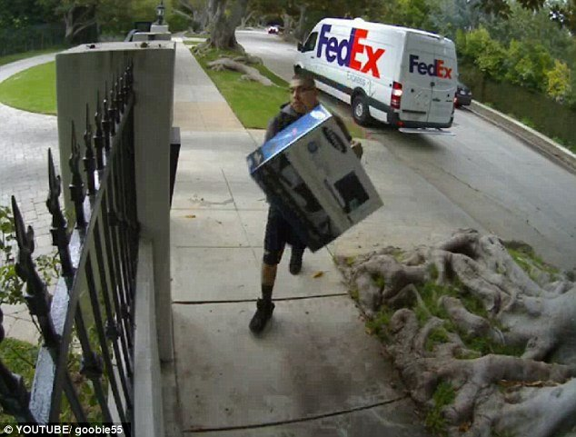 A hilariously sad clip of a FedEx delivery man chucking a computer monitor over a fence before returning to his van was posted on YouTube