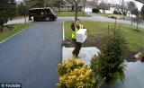 A home surveillance camera caught an UPS delivery man flipping the middle finger at the camera before throwing the package roughly on the door step
