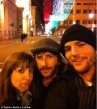 Ashton Kutcher posted a snap of himself, Lorene Scafaria and his friend Matthew Mazzant to his Twitter page
