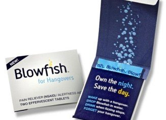 "Blowfish, the ""hangover cure"" from Rally Labs comes in two dissoluble tablets and will available across U.S. store shelves"