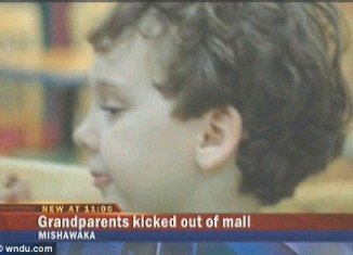 Cops from University Park Mall in Mishawaka, Indiana, banned a five-year-old boy from visiting Santa's grotto because his grandparents had broken rules by taking a picture of him