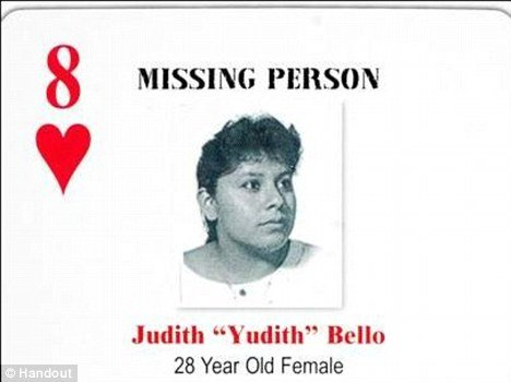 Judith Bello's profile was added to a deck of cards of unsolved homicides or missing persons