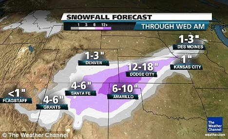 Much of Kansas will be affected, with the heaviest snowfall from southwestern Kansas, south into the Oklahoma panhandle, south toward Amarillo, Texas, and west into the New Mexico plains