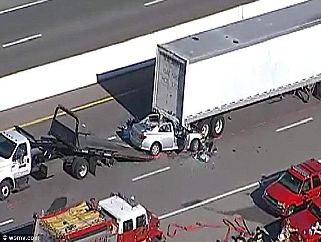 One person was killed in just one of the 55 collisions in a chain-reaction crash after a small car ploughed into the back of a U.S. Mail truck on a fogbound highway near Nashville, Tennessee on Thursday