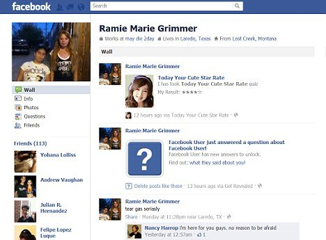 "Ramie Marie Grimmer wrote ""may die 2day"" on her Facebook page during the seven-hour stand-off her mother had dragged her into with police"