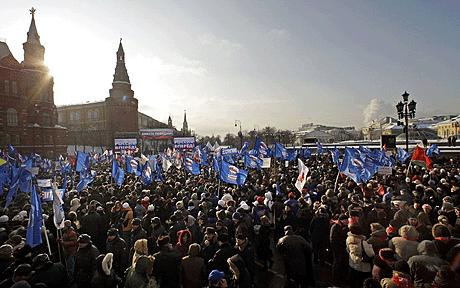 Tens of thousands of people gathered in central Moscow to protest against Vladimir Putin and the alleged electoral fraud