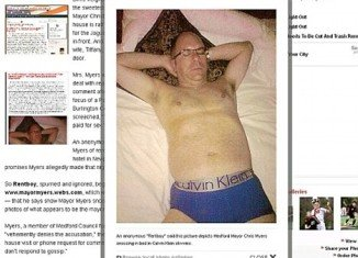 The anonymous allegation against Chris Myers, a father-of-two, was posted on a website and included a photo of a man who appeared to be him, in his Calvin Klein underwear