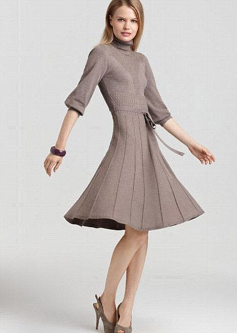 "The description for the Max & Cleo turtleneck sweater dress says it ""boasts a waist-cinching belt for the most flattering fit"""