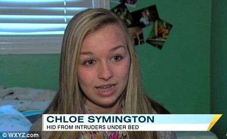 Through the 18-minute 911 call, the Chloe Symington described the thieves' whereabouts, but fell deadly silent when one came into her room minutes later