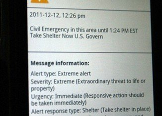 "Verizon text urging people to ""take shelter before 1:24 p.m."" was sent out at 12:26 p.m. on Monday to cell phone users in the New Jersey counties of Middlesex, Monmouth, Morris and Ocean"