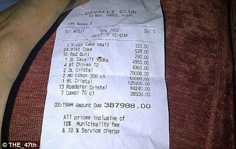 A two-hour birthday party spent out in Dubai's Cavalli Club managed to total a $108,357.80 bar tab (387,988 AED), according to the receipt published over Twitter this week