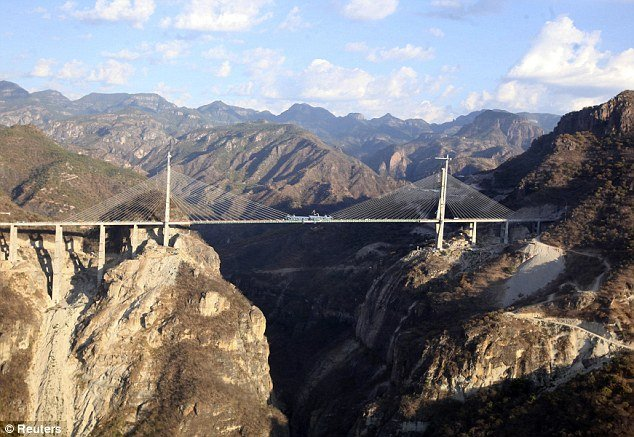 Baluarte Bicentennial Bridge is 403 meters or 1322 feet tall and connects between the northwestern states of Sinaloa and Durango in the Sierra Madre Occidental mountains photo