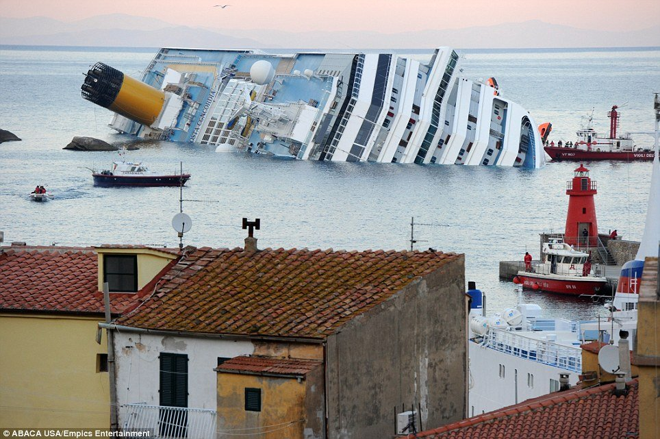 Costa Concordia cruise ship ran aground on Friday with some 4200 people on board tourists and crew photo