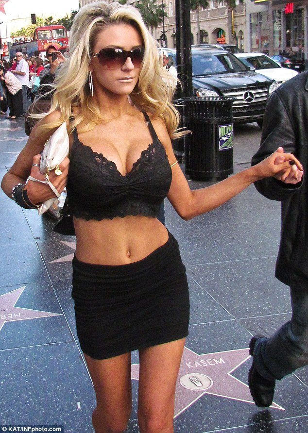 Courtney Stodden, 17, headed to Hollywood Boulevard for a shopping trip with her husband Doug Hutchison, 51, yesterday in a very daring outfit