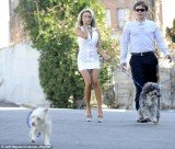 Courtney Stodden, 17, struggled to control a dog she was walking during a publicity stunt for PETA