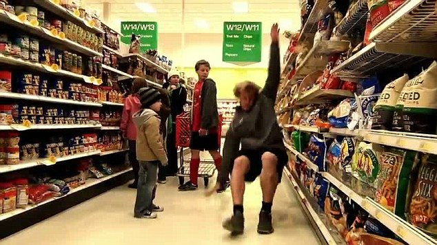 Falling involves participants dreaming up the most amusing and embarrassing ways to trip themselves up in front of other shoppers