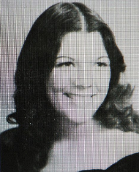 Kris Jenner posing for a series of high school year book black and white pictures dating from the early 1970s