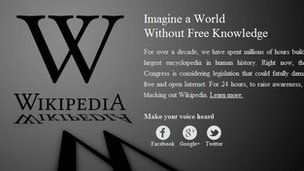Online encyclopedia Wikipedia and blog service WordPress are among the highest profile sites to block their content as a protest against anti-piracy laws in US