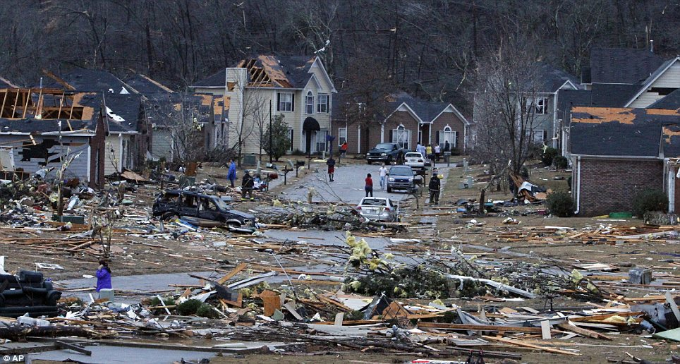 Powerful storms hit Alabama early this morning in an area that has not yet fully recovered from tornadoes that left the community in despair last year