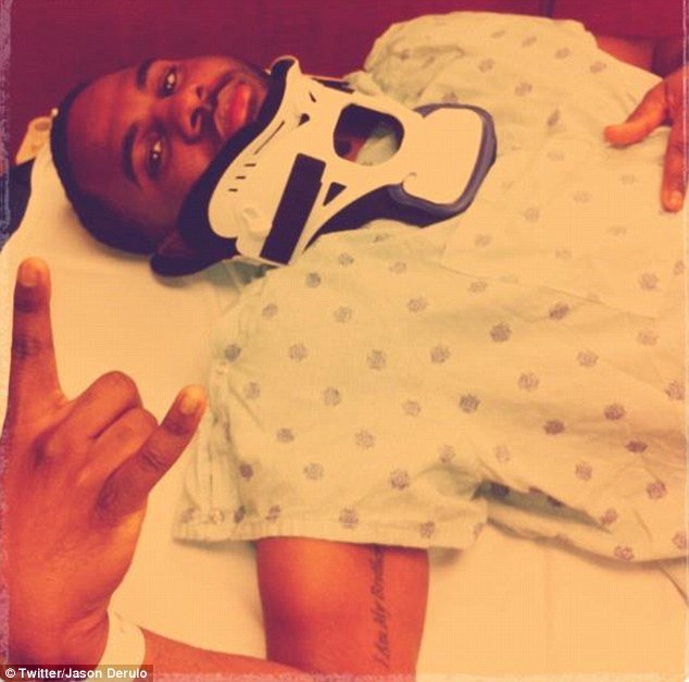 R&B star Jason Derulo has narrowly avoided paralysis after falling directly on his head during a rehearsal for his world tour