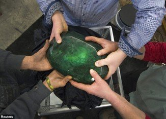 Teodora, the world's largest cut emerald, which is the size of a watermelon, is set to go up for auction and is expected to fetch $1.15 million