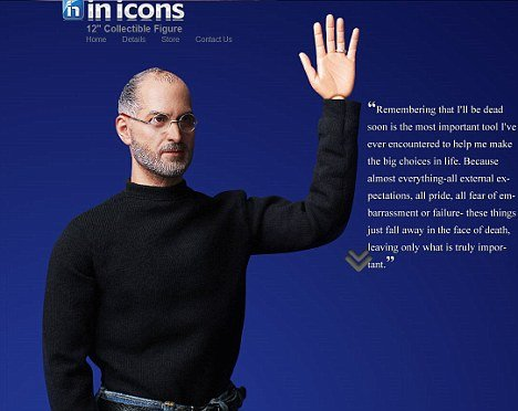 "The ""collectible figure"" is 1:6 scale and wears Steve Jobs' trademark poloneck, jeans and glasses"
