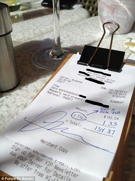 "A banker dining at True Food Kitchen restaurant in Newport Beach, California, left only $1.33 on a $133.54 tab, enforcing his position as the ""one per cent""."