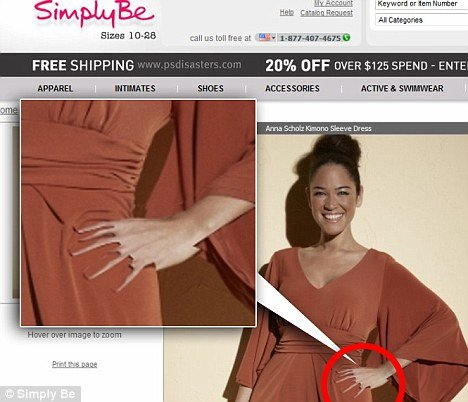 A devilishly bad piece of retouching at Simply Be left a model with an apparently freakishly clawed left hand, complete with six fingers and right-angled gashes